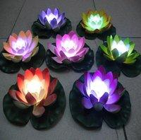 ingrosso ha portato loto artificiale-8 colori artificiali luci di candela fiore di loto colorato cambia LED fiore di loto per San Valentino forniture per le vacanze di nozze