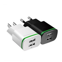Wholesale Fast wall charger EU US LED Light Dual USB Ports Mobile Phone Wall Travel Power Charger Adapter For Samsung iPhone Smartphones