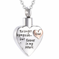 Wholesale Jewelry Holders For Necklaces - IJD7149 No Longer by My Side,but Forever in My Heart Dad Cremation Urn Pendant for Ashes Holder Keepsake Memorial Jewelry Funeral Necklace