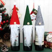ingrosso decorazioni da tavola di natale-Christmas Wine Set Confezione regalo Rudolph Cappelli Felt Wine Bottle Cover Babbo natale Barba Doll Shape Xmas Decorazione tavolo WX9-1074