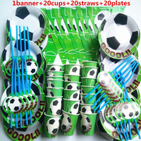 dekorasyon partisi çocuğu toptan satış-61 adet afiş 20 İnsanlar çocuklar doğum günü partisi futbol spor çocuk parti dekorasyon setleri kağıt garland plakalar bebek duş malzemeleri