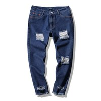 Wholesale Fly Port - 2018 Summer Wear Port Agitation Nine Part Holes Jeans Male Bound Feet Pants blue and black free shipping