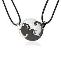 couples pendants UK - Couples Jewelry Necklaces Black white Couple Necklace Titanium Steel animal cat Pendants Necklace