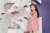 Wholesale Korea Summer Short Dress - 2018 New Korea style girl dress short sleeve with flower embroidery round collar plaid dress charming summer cool long dress 110-160cm