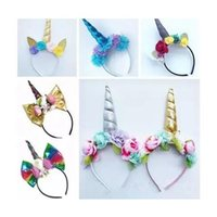 Wholesale wholesale artificial flower sticks - baby unicorn hair accessories girls cat ears headbands artificial flowers kids christmas gifts birthday party supplies hairbands rainbow bow