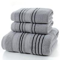 kamp duşları toptan satış-3 Adet Set Gri Pamuk Havlu Erkekler için Set toalla 2 adet Yüz Lif El Havlusu 1 adet Banyo Kamp Duş Havlu Banyo