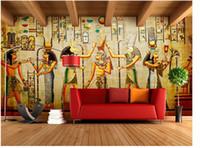 Wholesale Kids Rooms Themes - 3d Stereo European Retro Art Egyptian Theme Bar Cafe Restaurant Large Wallpaper Wallpaper Living Room Wallpaper