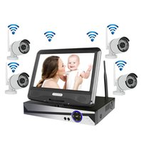 "Wholesale Video Monitor System - Wireless Surveillance System Network 10.1"" LCD Monitor NVR Recorder Wifi Kit 4CH 1080P HD Video Inputs Security Camera with 1TB HDD"
