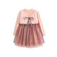 два поддельных платья оптовых-2018 новая девушка поддельные два розовых блесток платье принцессы маленький плюс бархат жилет сетки шить юбки пачки h144