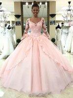 dantel uzun kollu elbise çini toptan satış-2018 Pembe Balo Uzun Kollu Gelinlik Çin'de Yapılan V Boyun Dantel Aplikler Moda Gelin Önlükler vestidos de noiva özelleştirilmiş