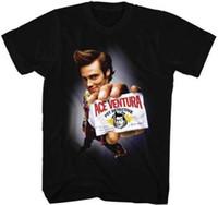 tarjetas de algodón al por mayor-Ace Ventura Pet Detective Holding Business Card Camiseta para adultos Funny Movie Mens 2018 moda Brand T-Shirt O-Neck 100% algodón Camiseta Tops