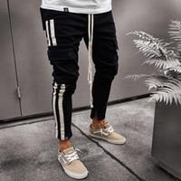 ingrosso maglia sottile-2018 New Mens Joggers Pantaloni sportivi da jogging in jersey a righe slim fit nere e bianche con coulisse S - 3XL