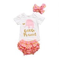 polka barboteuse bébé fille achat en gros de-Summer Baby Girl Clothes Set Petites tenues de cacahuète nouveau-né filles infantile à manches courtes barboteuse Tops Polka Dot shorts Bloomer bandeau 3PCS ensemble