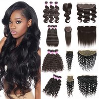 Wholesale human front hair weave for sale - Peruvian Hair Bundles with Closure Straight Body Wave Hair Weave U Deserve Lace Front Deep Water Human Hair Kinky Curly Bundles with Frontal