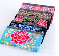 Wholesale Hop Storage - 2017 Hot Women's national wind handmade wallet retro embroidery purse change coin storage bag