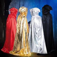 gümüş renkli siyah pelerinler toptan satış-Cadı Vampir Cloaks Cadılar Bayramı Kostüm Sihirbazı Pelerin Paspas Yetişkin Grim Reaper Siyah Kırmızı Gümüş Altın Pelerin