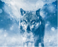 Wholesale wolf landscape paintings for sale - Group buy Full Square Round Drill D DIY Diamond Painting quot wolf quot Embroidery Cross Stitch Mosaic Home Decor Experience toys Gift A0021