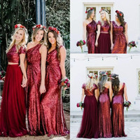 Wholesale Two Piece Style Wedding Dresses - 2018 Burgundy Sequined Long Bridesmaid Dresses Two Pieces Bridesmaid Dresses Country Style A Line Tulle Formal Wedding Party Guest Gowns
