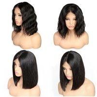Wholesale Indian Remy Short Wigs - Lace Front Human Hair Wigs For Black Women Pre Plucked Brazilian Remy Hair Straight Body Wave Short Bob Wigs With Baby Hair