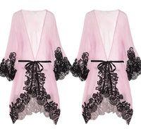 Wholesale Nighty Dressed Women Sexy - Women Sexy Pink Lace Sleepwear Chemise Kimono Sleep Nighty Gown Bath Robe sleeping dress