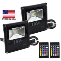 Wholesale led flood lights bulbs - outdoor RGB LED Flood Light Real high power 10W Floodlight Bulb Waterproof IP66 Lamp With Remote Control Holiday Lights + Stock In US