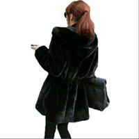Wholesale Knit Mink Fur Coat - SMFOLW 2017 New Women Faux Fur Coat High Quality Both Sides wear Large Imitated mink Hoodier Slim Soft Smooth wool Fur Jacket