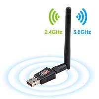 adaptador usb dongle wifi venda por atacado-600 Mbps USB Antena Wifi Dongle Receptor Dual Band 2.4 Ghz 5.8 Ghz USB adaptador wi-fi para o Windows 7 8 10 Mac PC