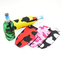 Wholesale vacuum cooling - Originality Camouflage Vacuum Cup Sleeve Portable Kettle Beer Cooler Holder Soft Drinks Covers With Zipper Hot Sale 4ab Ww