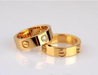 sevgililer günü için hediyeler toptan satış-Ünlü Marka Moda Ünlü C Marka 4mm Paslanmaz Çelik Yüzük Toptan Doğum Günü Hediyesi Takı Altın Yüzük Lover Toptan için