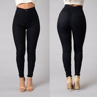 ingrosso caldo pantalone jeans donna-2017 Hot Cotton High Elasticity Skinny Jeans Donna Fashion Sexy Europa Push Up Pantaloni a matita Mujer Vintage Washed Pantaloni Femme