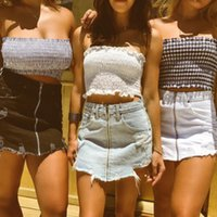 Wholesale cropped bandeau - Fashion Summer Women Casual Cotton Plaid Off Shoulder Tube Top Bandeau Bodycon Short Vest Sleeveless Crop Tops Outfits Clothes