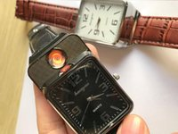 Wholesale cigar watches resale online - Newest USB chargeable sports Lighter Watches for Men Casual Wristwatches Windproof Flameless Cigarette Cigar Smoking Lighters