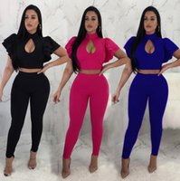 Wholesale fashionable women s suits - fashionable sexy ruffle woman clothes 2 Piece Set Ruffles Crop Tops And Elastic Waist Pants Set Jogging Suits EEA192
