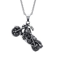 Wholesale Silver Biker Necklace - 316L stainless steel Biker Necklaces Mens Harley motorcycles Charms pendants Necklace For men Fashion Chains Jewelry Hot sale