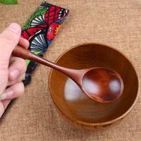 ingrosso accessori da cucina in legno-Cucchiaini di legno Cucchiai a manico lungo Cucchiaio per bambini Legno Caffè Zuppa di riso Cucchiaio da tavola Utensili in legno Accessori da cucina