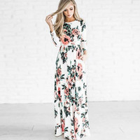 цветочный узор длинные цельные платья оптовых-Леди плюс большой круглый вырез цветочные принты с длинным рукавом макси платье Женщины Повседневная цветочный узор One piece длиной до пола платье S-2XL