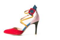 sandalias de gamuza stiletto tobillo correa al por mayor-2018 zapatos de tacón alto de moda tacones finos de punta estrecha zapatos de mujer sandalias de gamuza correa de tobillo Mujeres Bombas