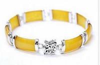 ingrosso bracciale in oro giallo-Braccialetto di collegamento di fortuna di longevità fortuna genuino giallo naturale oro 7.5