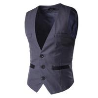 Wholesale Korean Men Winter Vest - Autumn and winter brand clothing Korean version of men's fashion suit vest for men2017 new leisure suit vest pocket solid color
