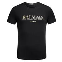 imprimé doré achat en gros de-Célèbre Européen Hommes Tshirts Designer Lettre Or Impression T Shirt Casual O Cou Eté Manches Courtes Street Style