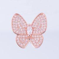 ingrosso spacer della farfalla-Gioielli fatti a mano all'ingrosso Accessori Abbellimenti Risultati Rame Zircone Cristallo Farfalla Spacer Catena Decorazione Connettori Charms