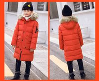 chaquetas de plumas coreanas al por mayor-NIÑOS Adolescentes Niños Diseñadores de ropa Chaqueta de plumón largo Versión coreana del gran MAO Collar Nuevos modelos medianos y largos Con mucho estilo