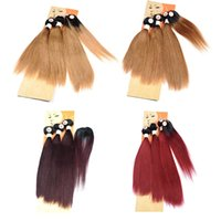 Wholesale ombre real hair for sale - Group buy Straight Ombre Hair Extensions Brazilian Ombre Colored Human Hair Weave Bundles With Inch Round Top Closure Like Real Hair Whorl