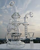 ingrosso bicchiere di vetro bicchiere a doppia-Enorme doppio Recycler Bong olio in vetro rig 10