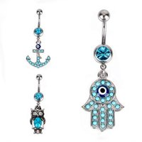 Wholesale titanium belly jewelry - Hamsa Hand Owl Anchor Blue Navel belly button rings Bar Piercing 14G Sexy Stainless Steel Body Jewelry Navel Piercing