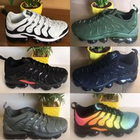 Wholesale Massage For Male - Vapormax TN Plus Olive Mens Sports Running Shoes Sneakers Men Run In Metallic White Silver Colorways For Male Shoe Pack Triple Black