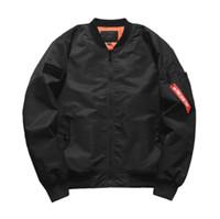 erkek kışlık giyim ceketleri toptan satış-Erkekler lüks tasarımcı kış Bombacı ceket uçuş pilotu Ceket rüzgarlık boy boy casual palto erkek giyim tops artı boyutu S-5XL