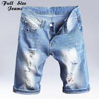 Wholesale jeans denim femme - Summer Plus Size Bermuda Shorts Feminino Washed Ripped Denim Capris Jeans Femme Boyfriends Ripped Jeans Short 3Xl 36 40 4XL 7XL