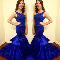 Wholesale Ladies Long Winter Robe - 2018 Royal Blue One Shoulder Arabic Mermaid Prom Dresses Lace Top Robe De Soiree Long Ladies Evening Party Gown Cheap