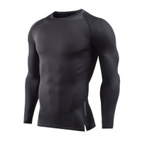 Wholesale thermal long sleeve shirts men - Men Long Sleeve Fitness Basketball Running Sports T Shirt Men Thermal Muscle Autumn Tops Gym Compression Tight Tees